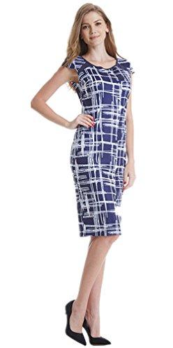 DB MOON Women's Casual Plaid Print Wear to Work Sheath Dress (Blue, XL)