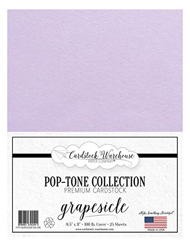 Grapesicle / Lavendar / Light Purple Cardstock Paper - 8.5 X 11 Inch 100 Lb. Heavyweight Cover -25 Sheets From Cardstock Warehouse