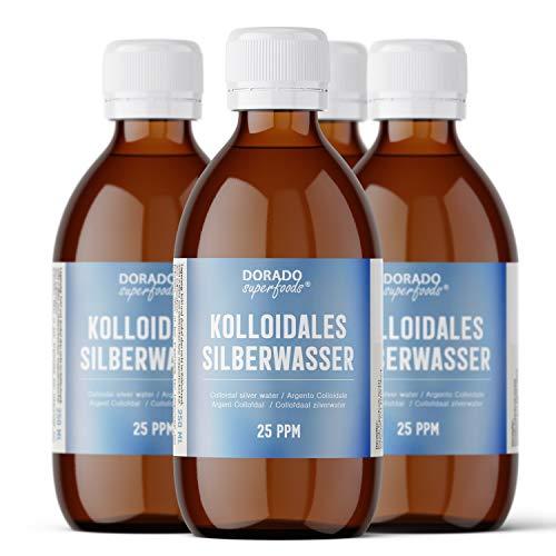 Dorado Superfoods ® kolloidales Silber Silberwasser | 25 ppm 1000 ml (4 x250 ml) | in medizinischer Braunglasflasche