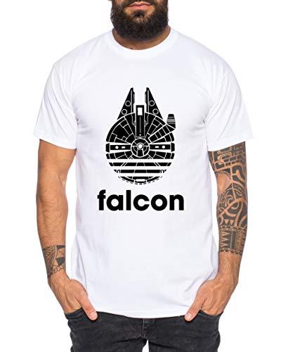 Adi Falcon - Camiseta de Hombre Fast Falcon Wars T-Shirt Star Imperium Boba Fiction Darth, Größe2:XXXX-Large, Farbe2:Blanco