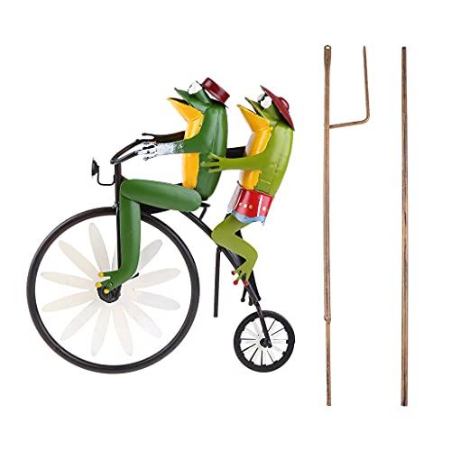 LANCHEN - Spinner de Viento para Montar en Bicicleta de Hierro Forjado con Varilla de pie, decoración de Animales