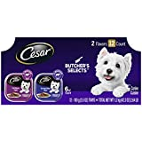 CESAR Classic Loaf in Sauce Adult Soft Wet Dog Food BUTCHER'S SELECTS Variety Pack, Dry-Aged Ribeye Flavor and Filet Mignon Flavor, (12) 3.5 oz. Trays