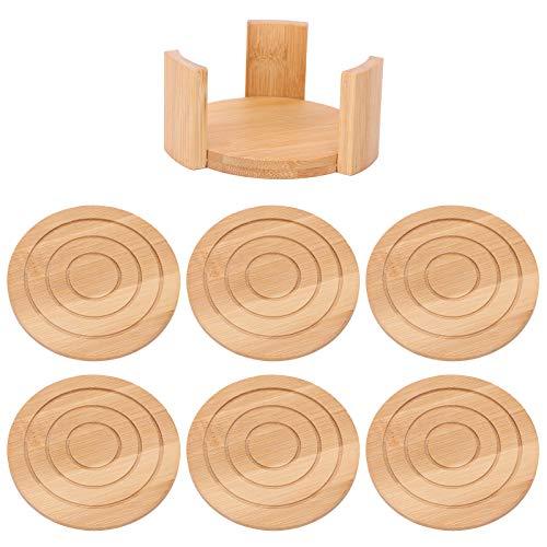 ZHenMei 6 Unidades de Posavasos de Bambú con Soporte Almohadilla Redonda para Frío Bebidas Protección de Mesa Posavasos Posavasos Absorbente de Agua Productos para Hogar