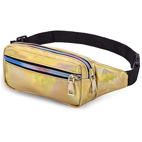 LIVACASA Fanny Pack Waist Bags for Women Shiny Holographic Waist Bum Bag Waterproof for Festival Party Travel Rave Hiking Gold