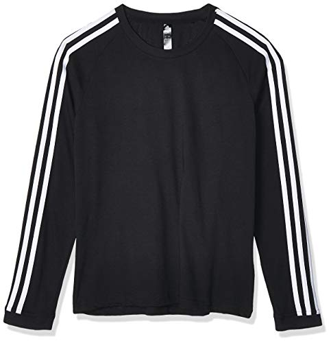adidas 3S LS T-Shirt à Manches Longues Femme, Black/White, FR (Taille Fabricant : XS)