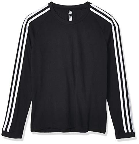 adidas 3 Stripe Longsleeve W Camiseta de Manga Larga, Mujer, Negro (Black/White), XS