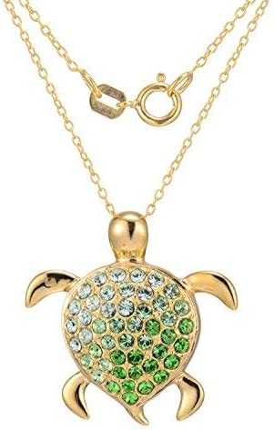 18K Yellow Gold or Rhodium Plated 925 Sterling Silver Crystal, C