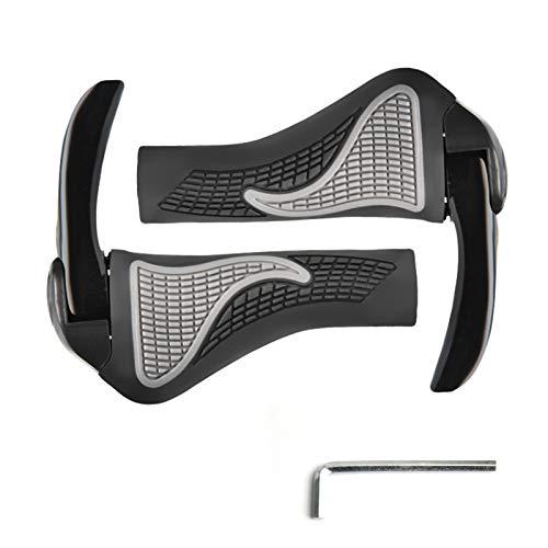 Rousa Fahrradgriffe aus TPR-Gummi, ergonomisch, rutschfest, mit Horn aus Legierung, passend für viele Standard-Fahrräder, 22,2 mm Durchmesser (114 mm Legierung + TPR)