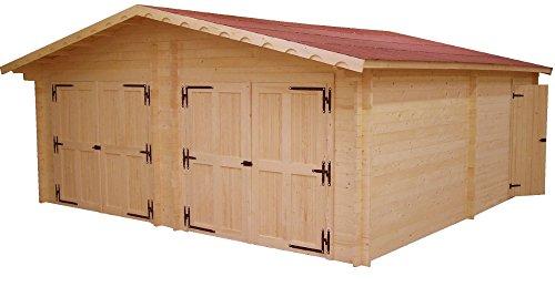 Garage Double en madriers massifs 60mm - 35,00 m²