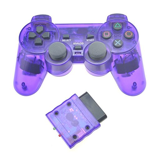 Accrie Transparent Color Wireless Controller 2.4G Vibration Controle Gamepad for Sony Playstation 2 Transparent Purple
