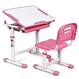 GOPLUS Kindertisch mit Stuhl, Kinderschreibtisch Höhenverstellbar, Schülerschreibtisch Farbewahl, Kindermöbel Neigungsverstellbar, Schreibtisch Kinder (Rosa)