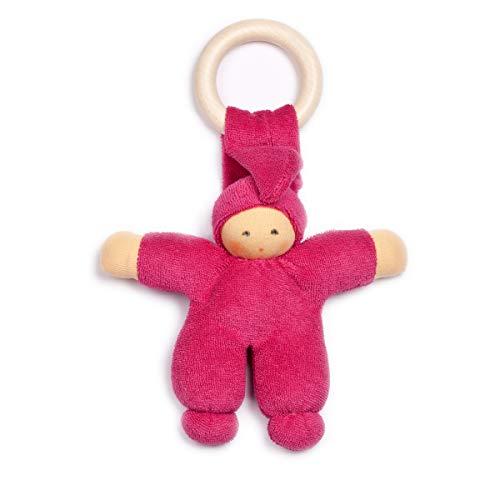 Unbekannt Nanchen Puppe Pimpel mit Beißring aus Bio-Baumwolle mit Bio-Schurwolle-Futter 22 cm