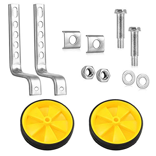 Metyere Heavy Duty Kids Bicycle Training Wheels Kit Adjustable Auxiliary Wheel Set Fits 12/14/ 16/18/ 20 inch Bicycles