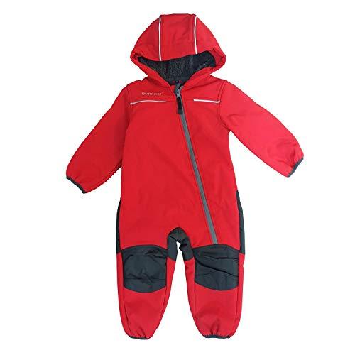Outburst - Baby Kinder Jungen Softshell-Overall Schneeanzug gefüttert wasserdicht 10.000 mm Wassersäule atmungsaktiv Winddicht, rot/anthrazit - 14438169 - Größe 104