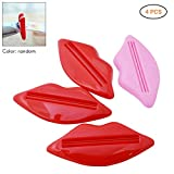 Hihey 4Pcs Zahnpasta Squeezer Lippen-Form Tube Creme Kosmetik Tubenausdrücker Quetscher Badezimmer Zubehör (Zufällige Farbe)