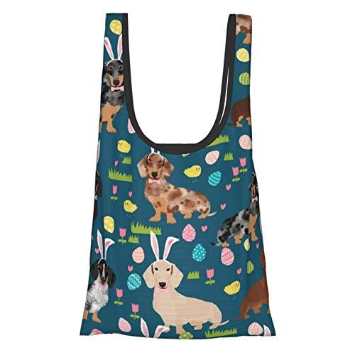 Doxie Osterei Dackel Hunde Ostereier Lebensmittel Taschen Einkaufstaschen Geschenktaschen Tragetaschen Wiederverwendbare Faltbare Umweltfreundlich Wasserdicht Ripstop mit Beutel