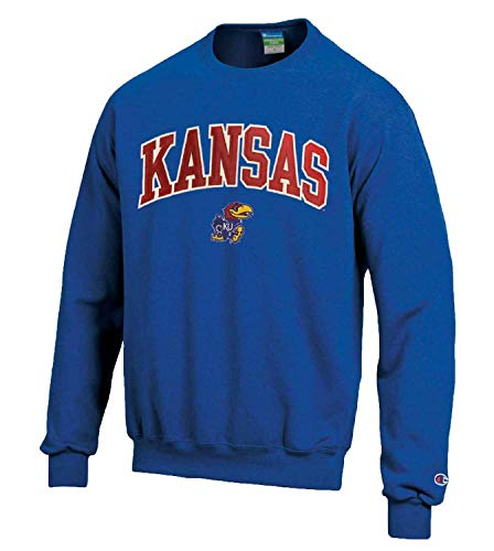 Champion Adult Tackle Twill Crewneck - Officially Licensed Unisex NCAA Team Sweatshirt (Kansas Jayhawks - Royal, Adult Medium)