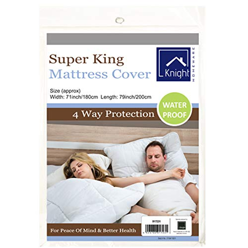 Knight Waterproof Mattress Protector Cover   100% PEVA Chloride-free Odourless Soft-touch   Single Double King Super-King (Super King (180cm x 200cm))