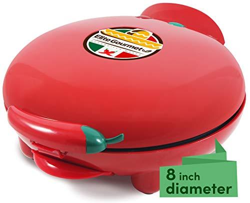 Elite Gourmet Maxi-Matic EQD-413 Non-Stick Electric Mexican Taco Tuesday Quesadilla Maker, Easy-Slice 6-Wedge, Grilled Cheese, 8-inch, Red