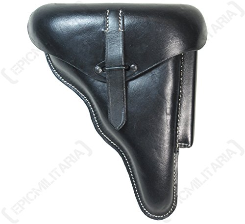 Hochwertiges P38 Hartschalen-Luger-Holster – schwarzes Leder – WW2 Reproduktion