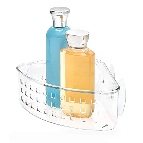 iDesign Basic Eckduschkorb, Duschkorb ohne Bohren aus Kunststoff mit Saugnäpfen, durchsichtig