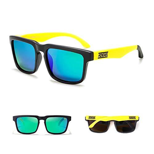 24 JOYAS Gafas de Sol Moda Cool Polarizadas con Funda y Gamuza para Mujer y Hombre (Amarillo)