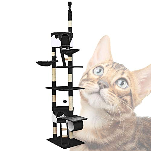 Árbol rascador para gatos 240-260cm XXL Negro/blanco Altura hasta techo Mascotas Animales compañía