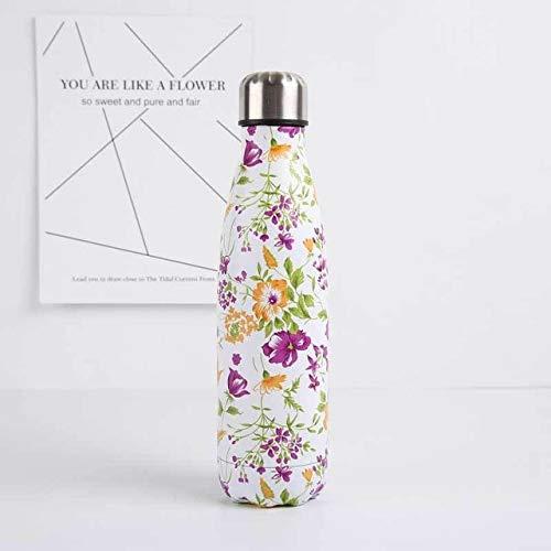 Botella de agua con aislamiento al vacío de acero inoxidable para deportes térmicos fríos de 500 ml de doble pared de beber directamente flores ecológicas - flor púrpura