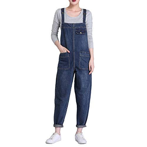 LAEMILIA Latzhose Damen Hose Latzhose Denim Jeansoptik Klasse Vintage Jeans Lang Lässig Baggy Boyfriend Stylisch Overall Jumpsuit (EU 40=Tag 2XL, Dunkelblau)