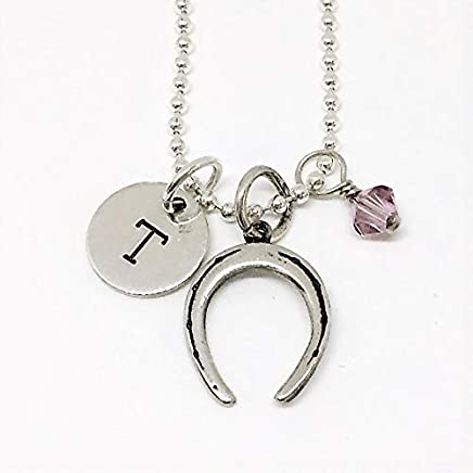 0a240e6d1 Horse Shoe Necklace Sterling Silver with Swarovski Birthstone Crystal or  Pearl/HorseShoe Lucky Girls Jewelry