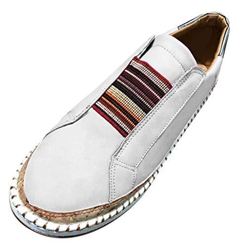 iYmitz Damen Sneaker Mode Casual Aushöhlen runde Zehe Slip On Schuhe Wohnungen mit Turnschuhen Ohne Verschluss(Weiß,EU/39)