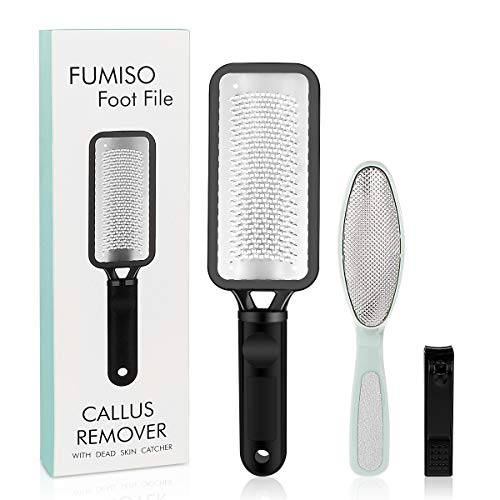 Foot File, Colossal Foot Rasp Callus Remover 2 Pcs and 1 Nail Clipper, Best Foot Care Pedicure Tools to Remove Hard Skin Professional Foot Scrubber, Pedicure Kit be Used on Both Wet and Dry Feet