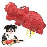 VavoPaw Juguete Hipopótamo Resistente Mordeduras para Perros, Cepillo Dientes Caucho Duradero Sonoro Limpieza Masticable Alimentador Fuga Juego Interractivo para Mascotas Medianos Grandes, Rojo