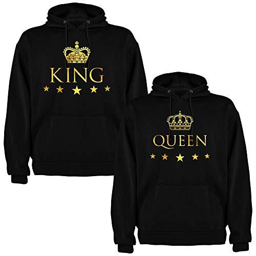 Pack de 2 Sudaderas Negras para Parejas, King y Queen, Dorado (Hombre
