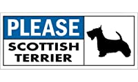 PLEASE SCOTTISH TERRIER ワイドマグネットサイン:スコティッシュテリア Sサイズ