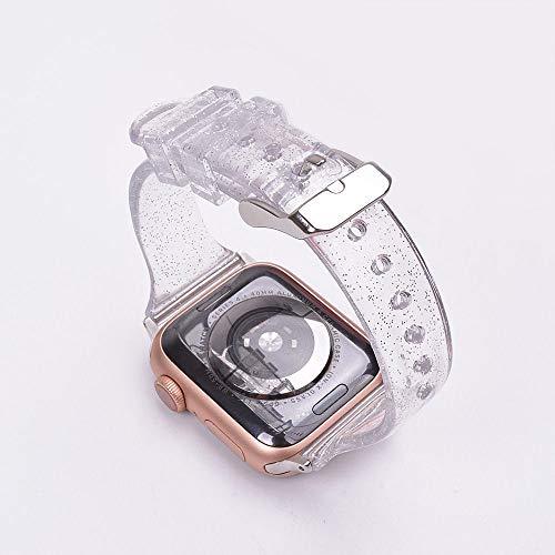 LWHAMA Lwwhama Banda de Flyuzi para Apple Watch 5 Glitter Silicone Band 42mm 44mm 38mm 40 mm Pulsera Transparente Delgada Correa Correa Correa para iWatch 5 4 3 2