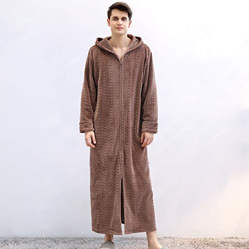WTBI Otoño e Invierno Cremallera Albornoz Pijamas con Capucha Pareja Pijamas espesantes Franela Damas camisón Largo-café Hombre, XL (160-200 kg)