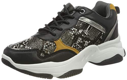 Dockers by Gerli Women's Low-Top Sneakers, Schwarz Grau, 9.5 us