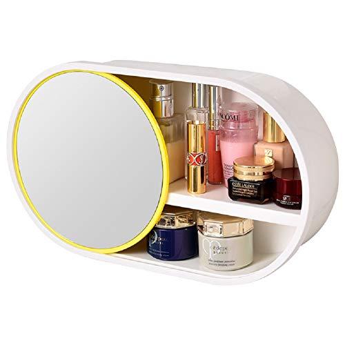 Aufbewahrungsbox mit Spiegel Für Schminke Kunststoff Kosmetische Make-Up Veranstalter, sparen Platz, Wandmontage ohne Stanzen, Starke Tragfähigkeit für Badezimmer, Kommode, Gelb
