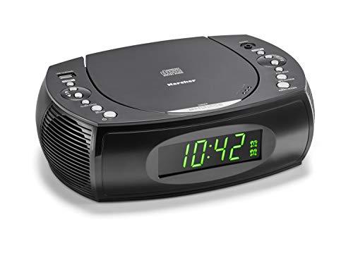Karcher UR 1308 Radiowecker mit CD Player und UKW Radio (20 Senderspeicher) – Wecker mit Dual-Alarm, USB-Charger & Batterie Backup Funktion