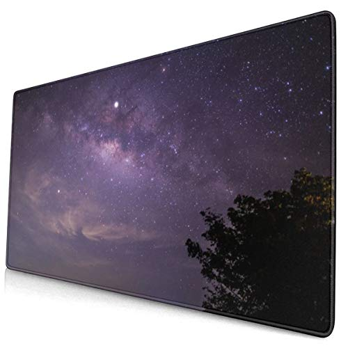 Milkyway with Cloudy and Mountain Design Pattern XXL XL Large Gaming Mouse Pad Mat Long Extended Mousepad Desk Pad Non-Slip Rubber Mice Pads Stitched Edges (29.5x15.7x0.12 Inch)