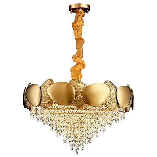 De Hierro Forjado Cristal Lámpara De Araña,Moderna Personalidad Creativo Redonda Cristal Gotitas Lámpara Colgante,Dorado Cromo Terminar E14 Luces De Techo-Dorado 24x17inch