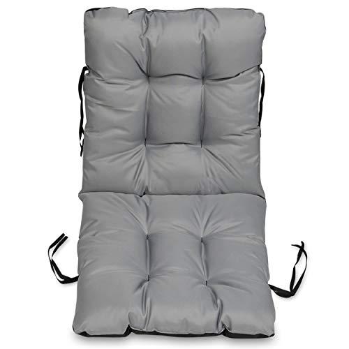 Superkissen24. Stuhlkissen Sitzkissen und Rückenkissenfür stühle - 48x96 cm - Outdoor und Indoor - grau