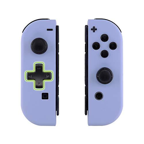 eXtremeRate Soft Grip JoyCon Cover Impugnatura Custodia Controller(D-pad Versione) Case DIY Ricambio per Nintendo Switch Joy-Con(Lilla) con Pulsanti-NON Include JoyCon