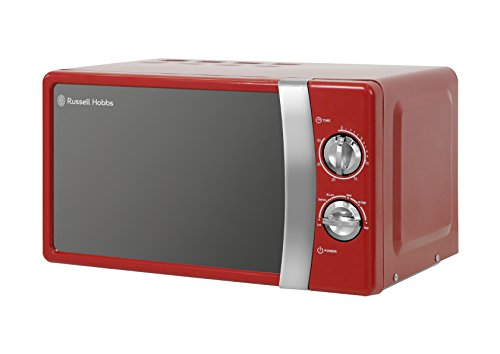 Russell Hobbs RHMM701R 17 Litre 700 W Red Solo Manual Microwave with 5 Power Levels, Ringer & Timer, Defrost Setting, Easy Clean