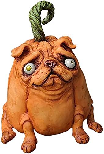 Pugkins Sculptures French Bulldog Statue, Halloween Theme Pugkins Figurine, Handmade Dog Ornaments for Indoor Outdoor Garden Patio Lawn Decoration(A)
