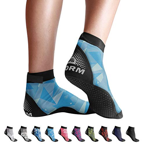 BPS 'Second Skin' Water Socks - Sand Socks for Beach Volleyball, Surfing, Dive Boots, Canoeing, Snorkeling, Beach Soccer, Sand Volleyball, Swim Fins - Low Cut Socks (Blue Polygon Pattern, Medium)