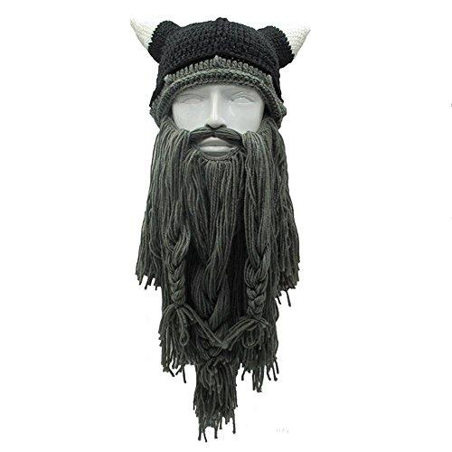 Aolvo, berretto con barba in stile vichingo. Cappello originale, con barba stile saccheggiatori barbari. Taglia unica, Dark Gray, taglia unica
