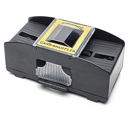 Kartenmischmaschine 2 Decks Elektrische Mischmaschine als Kartenmischgerät batteriebetrieben zum Mischen von Karten beim Pokern, Rommé und Skat auf Knopfdruck Karten sortieren (schwarz)