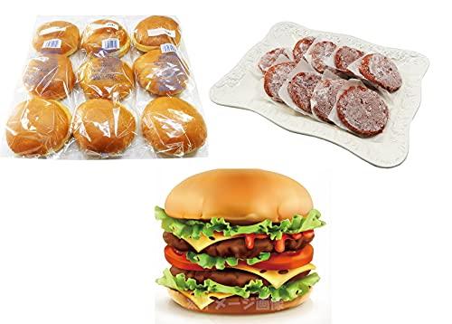 ハンバーガー バンズ&パティ(ビーフ)9個セット (グラスフェッドビーフパティ9枚&ビックバーガー バンズ9個)【冷凍】